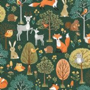 Forest by Makower UK - 6718 - Forest Animals Scenic on Dark Green  - 2168_G - Cotton Fabric